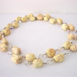 Vintage Necklace Double Strand Crystals and Ceramic Beads Marked Japan