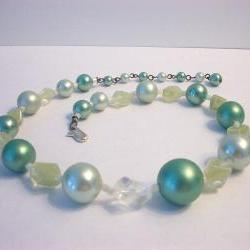 Vintage Bead Choker Necklace Icy Mint Green Marked Japan